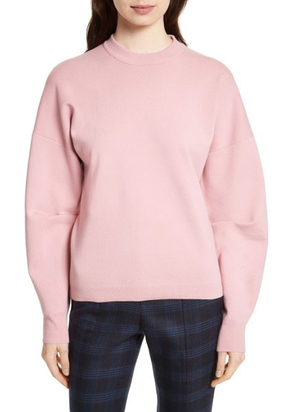 Tibi sculpted zip back pullover in calla pink - A cozy pullover of wool-blend fleece knit gets a...