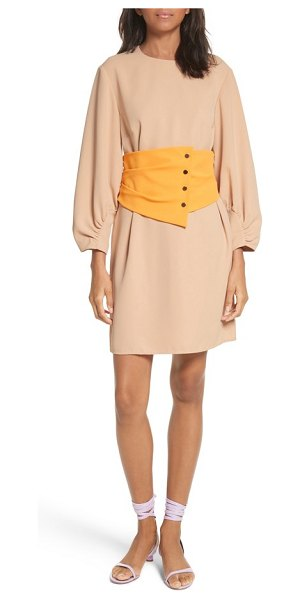 Tibi shirred sleeve corset dress in nude/ orange multi - This chic crepe shift has two things to love: the...