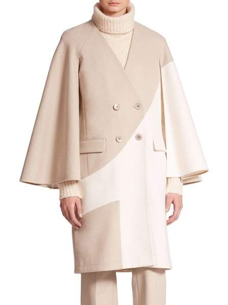 TIBI Siku cape sleeve two-tone wool blend coat - Wide, flowing sleeves lend a cape-inspired look to this...