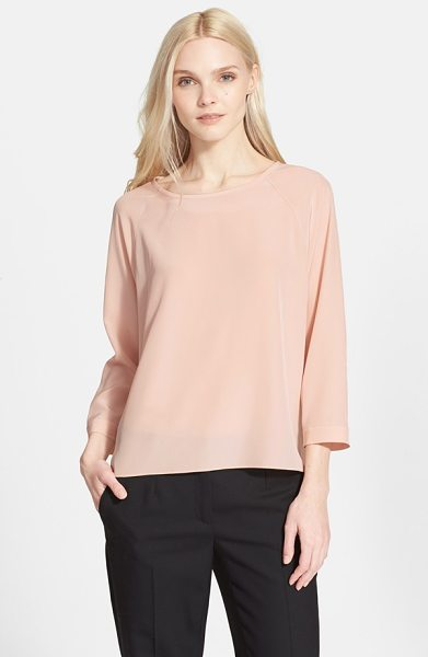 TIBI silk blouse in pale blush - Three-quarter raglan sleeves and a relaxed, floaty fit...
