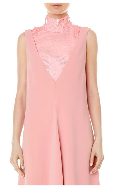 Tibi silk sequin turtleneck shell top in pink - From the Saks It List: Pastels Shimmering sequins adorn...