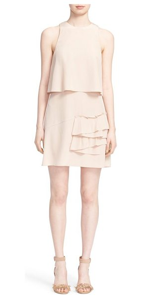 Tibi sophia sleeveless popover ruffle dress in sand blush - A popover-style overlay that's split at the back and a...