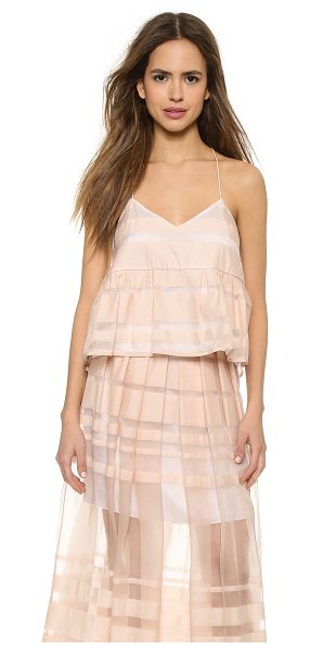 Tibi Strappy ruffle cami in shell - Shadow stripes bring subtle pattern to this sweet Tibi...