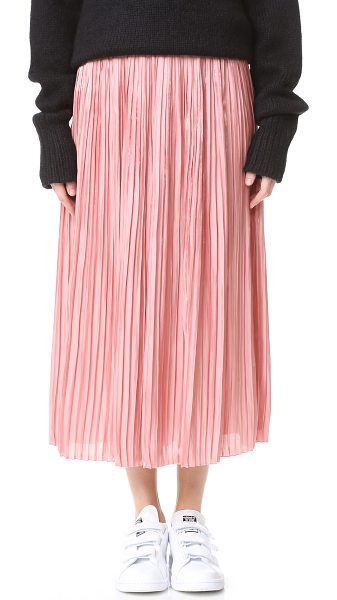 Tibi sunray flume pleated skirt in monticello peach