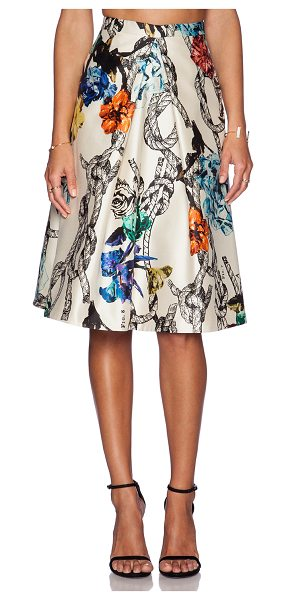 Tibi Tattoo print pleated skirt in cream - Self: 100% silkLining 1: 100% acetateLining 2: 100%...