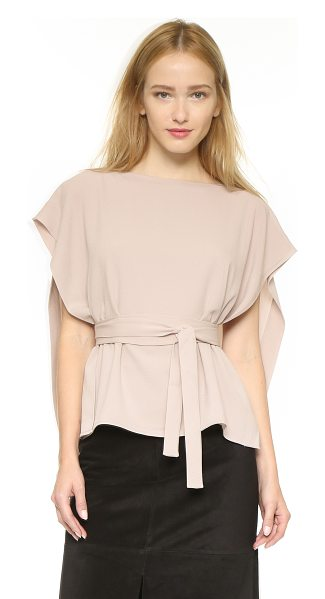 Tibi Tie front cape top in blush haze - A voluminous overlay lends airy movement to this Tibi...