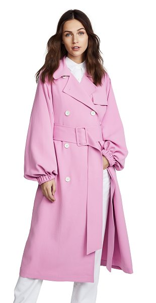 Tibi trench coat in pink - Fabric: Twill Long profile Collared neck Long sleeves...