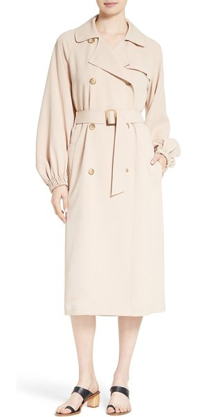 TIBI twill belted long trench coat - Raglan sleeves that end in elasticized cuffs create a...
