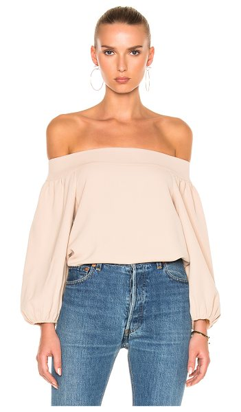Tibi Twill Off-Shoulder Top in neutrals,pink - 100% poly.  Made in China.  Dry clean only.