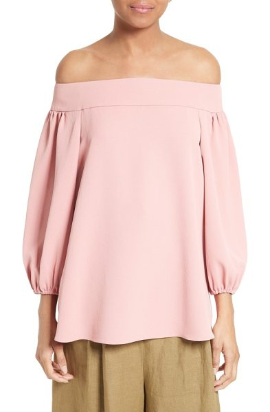 Tibi twill off the shoulder top in pitaya pink - A wide band that sits just off the shoulders defines the...