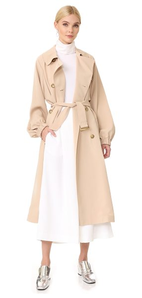 Tibi twill trench coat in sand blush - A classic, double-breasted Tibi trench coat, updated...