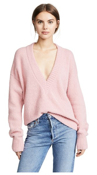 Tibi v neck pullover sweater in kuni pink - Fabric: Brushed knit Dropped shoulders Ribbed trim...