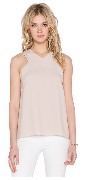 Tibi V neck tank in beige - Poly blend. Dry clean only. Hidden back zipper closure....