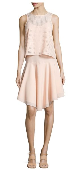 TIBI Windowpane laser-cut layered dress - Tibi layered knit dress with laser-cut detail. Round...