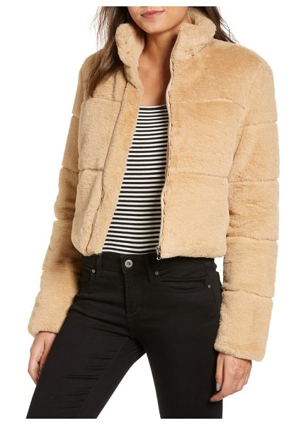 tiger Mist bridget faux fur puffer jacket in beige - Supersoft faux fur and a cropped silhouette make this...