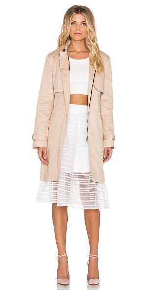 tiger Mist Get like me trench in beige - Self: 97% cotton 3% spandexLining: 100% poly. Hand wash...