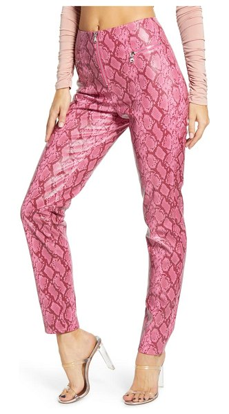 tiger Mist pearl snake print faux leather pants in pink