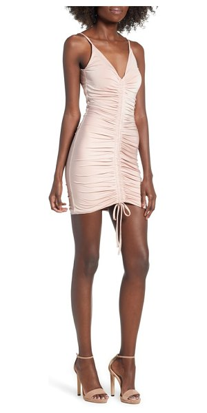 tiger Mist sasha dress in pink - A central line of ruching ripples down this sleek,...