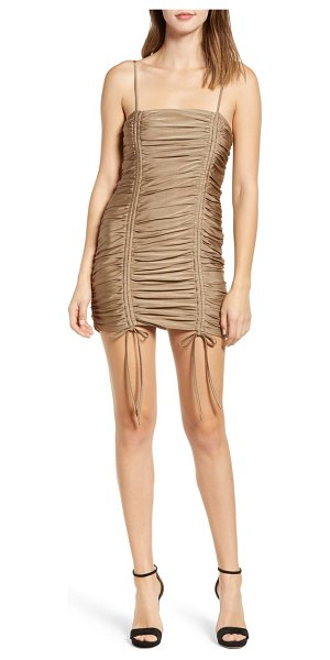 tiger Mist zion ruched mini dress in metallic - Dazzle onto the dance floor when you shimmy in wearing a...