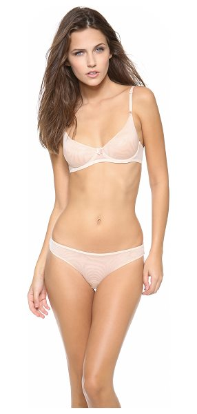Timpa underwire demi bra in nude - A sheer mesh Timpa bra with a charming bow accent....
