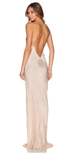 TITANIA INGLIS Long Plunge Dress in peach - 100% cupro. Dry clean only. Fully lined. TITR-WD2....