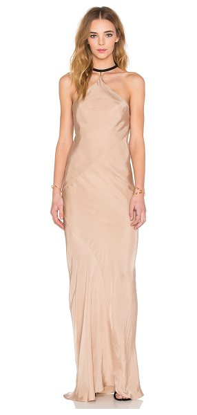 TITANIA INGLIS x REVOLVE Drop Dress in beige - 100% cupro. Hand wash cold. Unlined. Leather neck strap...