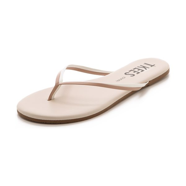 TKEES Duos flip flops in bare white - Leather TKEES flip flops in an elegant, neutral finish...