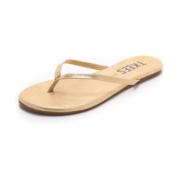 TKEES Glitters flip flops in sandbeam - A shimmering leather upper and footbed bring a touch of...