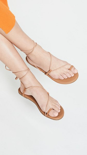 TKEES jo lace up sandals in hazelton - Leather: Cowhide Strappy silhouette Flat profile Lace-up...