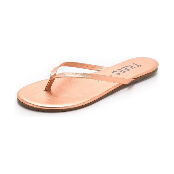 TKEES Shadows flip flops in beach pearl - Slender metallic leather straps lend a barely there look...