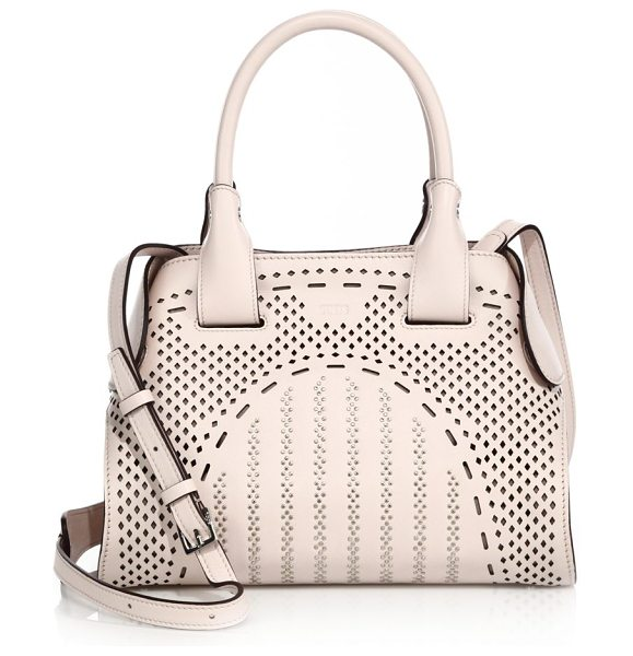 Tod's cape mini studded laser-cut leather satchel in blush - Perforated leather satchel with snug magnetic side tabs....