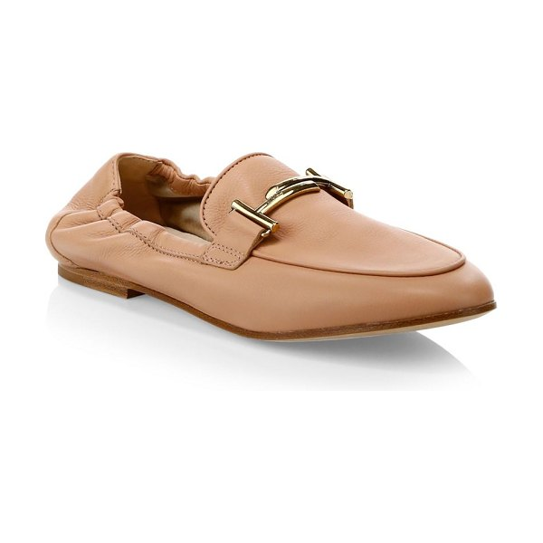 Tod's cuoio legg leather moccasins in light pink - Pebbled leather moccasins with an elasticized back...