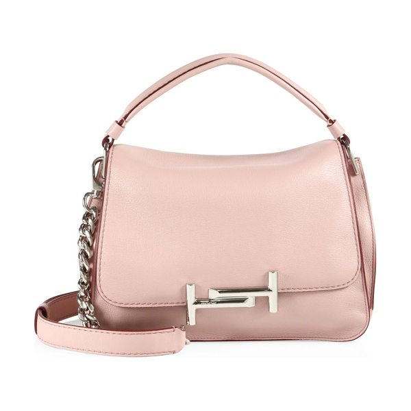 Tod's double t leather messenger bag in pale pink - Gleaming double-T hardware polishes luxe leather bag....