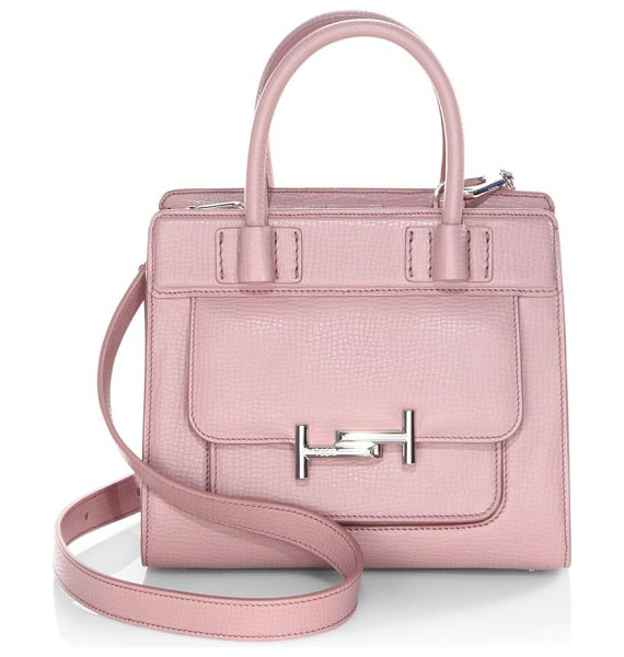 Tod's double-t leather satchel in dark pink - Satchel with iconic fastening in branded metal. Double...