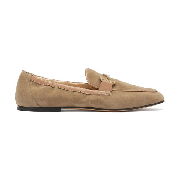 Tod's double-t suede loafers in beige