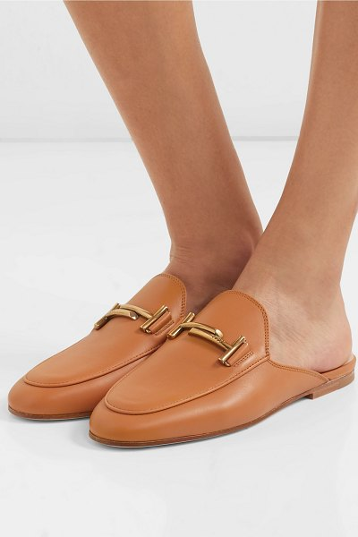 Tod's embellished leather slippers in tan - Loafers are what Tod's does best, so you know when you...