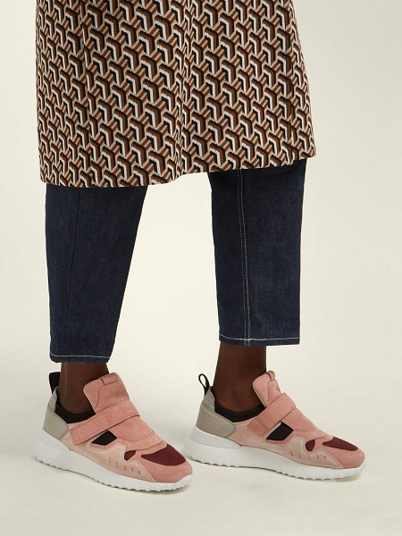 Tod's exaggerated sole suede trainers in pink