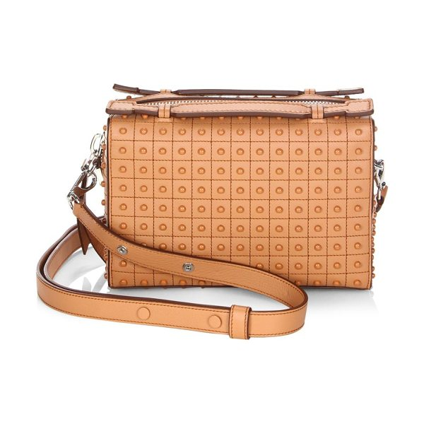 TOD'S gommino leather box bag in cognac - Leather satchel with embossed details throughout. Top...