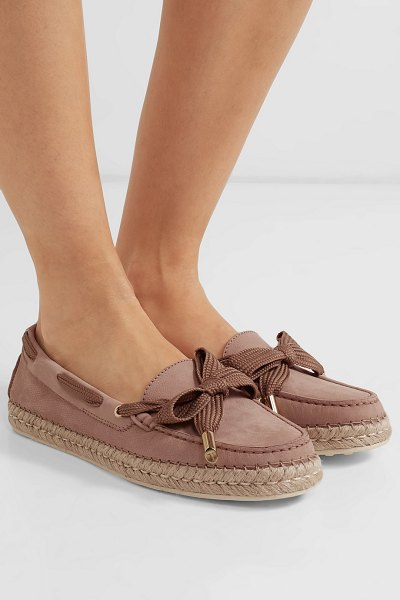 Tod's gommino bow-detailed nubuck espadrilles in blush - The rubber 'Gommino' studs that detail Tod's espadrilles...