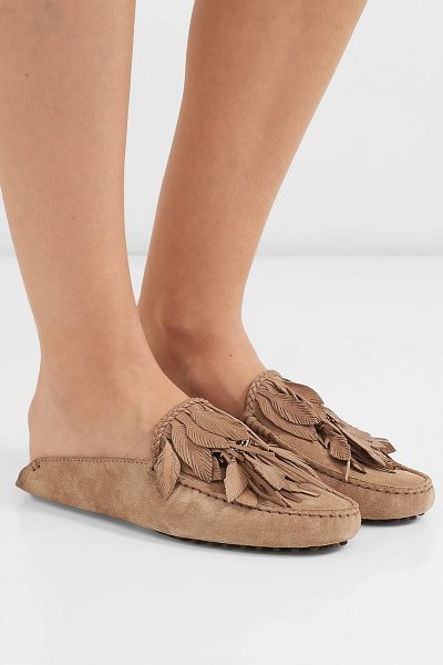 Tod's gommino embellished fringed suede slippers in brown
