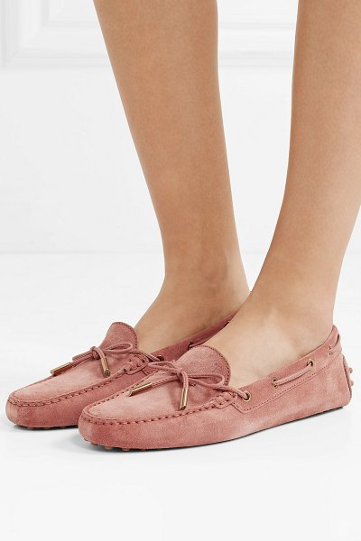 Tod's gommino suede loafers in antique rose