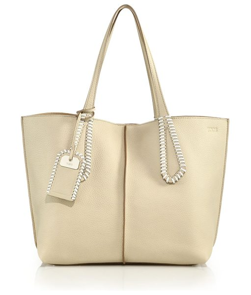 Tod's Joy medium whipstitched leather tote in beige - Supple leather carryall with contrast whipstitched...
