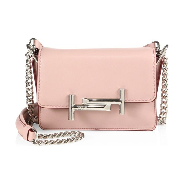 Tod's mini double t leather & chain crossbody bag in pale pink - Glossy double-T hardware polishespetite leather bag....