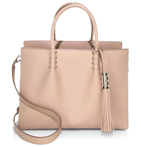 Tod's leather satchel in beige - Satchel featuring side snap details. Top carry handles....