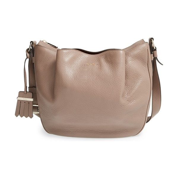 Tod's Small flower leather crossbody bag in stone/ caffe - Superbly crafted, the softly structured Flower bag in...