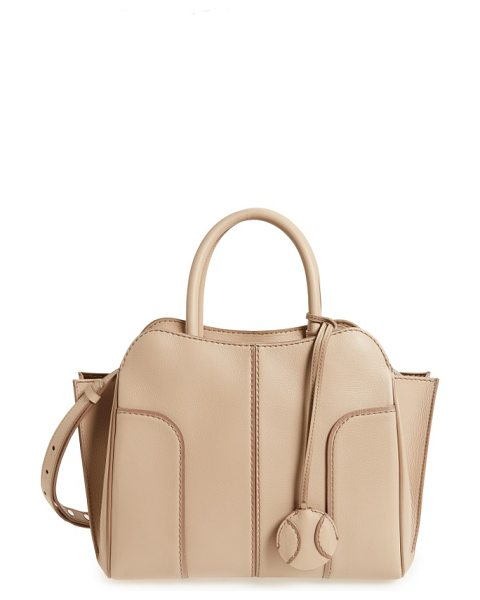 Tod's small sella leather satchel in taupe nude - Impeccable topstitching and curvaceous paneling elevate...