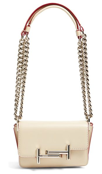 Tod's 'small venice' calfskin leather crossbody bag in shell
