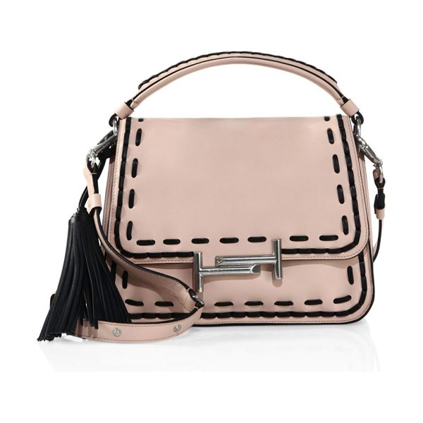 Tod's stitch-detailed double t leather messenger bag in pink - Tassel-trimmed bag with contrast whipstitch details. Top...