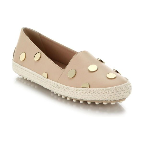 TOD'S Studded leather espadrilles - Light-catching metal studs create a luxe polka-dot...