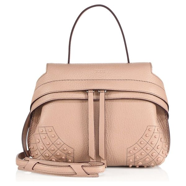 Tod's wave mini gommini leather satchel in pale pink - Sleek silhouette with snap sides and signature pebble...